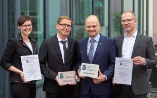 """Preisträger des """" Thüringer Preis der Wohnungswirtschaft """" , aufgenommen am 22.05.2019 in Suhl (Thüringen) bei den """"Tage der Thüringer Wohnungswirtschaft"""". Foto: ari"""