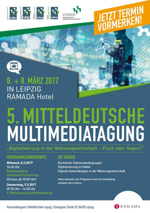 5. Mitteldeutsche Multimediatagung am 08./09.03.2017 in Leipzig